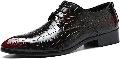 M-anxiu Men's Vintage Crocodile Lizard Wing-tip Lace up Leather Shoes Bronze Alligator Print Prom Dress Shoes Derby Shoes (11, Red-2) - Lizard Wingtip