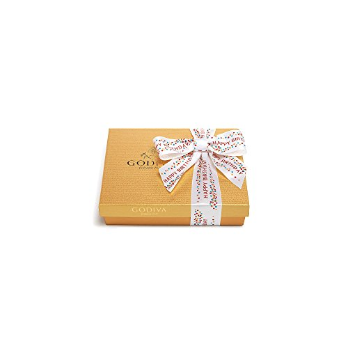 Godiva Chocolatier Assorted Chocolate Gold Gift Box, Happy Birthday Ribbon, Birthday Gift, 19 Count