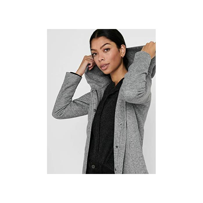 417KNwkI07L Abrigo de lana con capucha. Abrigo largo de entretiempo. 85% Poliéster, 15% Algodón