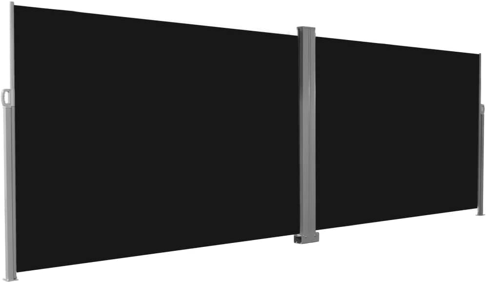 Festnight Patio Retractable Double Privacy Wall Corner Folding Side Awning Screen Divider Fence with Steel Pole Garden Outdoor Sun Shade and Wind Scree for Lawn Backyard Black 19.6 x 6.6 Feet L x H