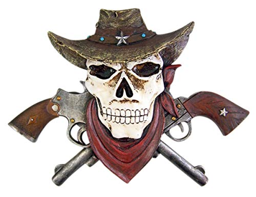Western Skeleton Decor Skull in Cowboy Hat with Crossed Pistols Wall Plaque