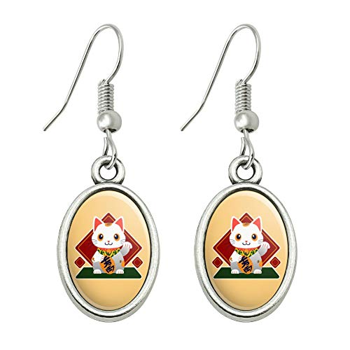 GRAPHICS & MORE Cute Lucky Cat Maneki-Neko Novelty Dangling Drop Oval Charm Earrings