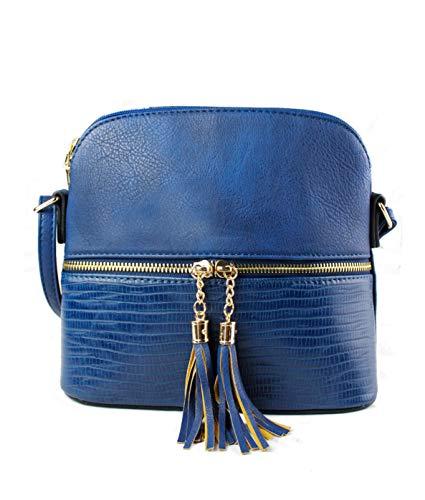REDFOX Women's Mini Tassel Zip Trendy Snakeskin Faux Leather Sling Crossbody Handbag Oxford Blue
