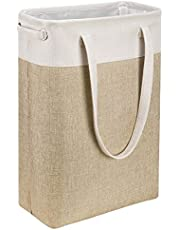 i BKGOO Laundry Basket with Handles Slim Laundry Bin Collapsible Dirty Clothes Basket Narrow Laundry Bag Foldable Dirty Hamper for Camping, Dorms, Apartments (Beige&Khaki)