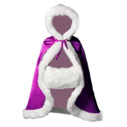 Flower Girl Cape Winter Wedding Cloak for Infant Junior Bridesmaid Hooded Reversible Purple 44]()