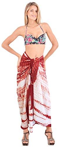 cubrir La Leela de natación mano 100% algodón hasta la playa de la falda de tinte empate pareo 78x42 pulgadas Rojo