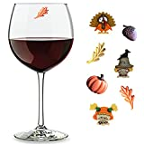 Fall Wine Charms Set of 7 Magnetic Drink Markers & Tags for Stemless Glasses, Solo Cups and More