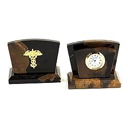 Desk Accessories - Medical Caduceus Letter Rack and Desktop Clock - Medical Office Desk Accessories