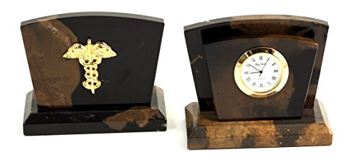 (Desk Accessories - Medical Caduceus Marble Desk Clock & Letter Rack - Desk Accessories )