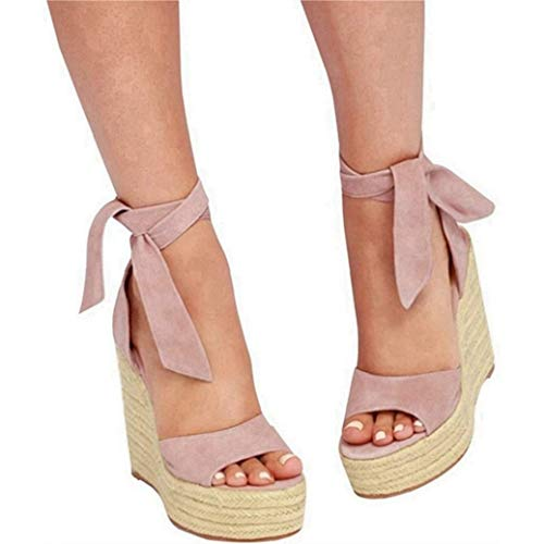 (Seraih Womens Lace up Platform Wedges Sandals Classic Ankle Strap Shoes Pink, Size 10)