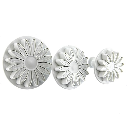 3 PC Set Daisy Sunflower Impression Plunger Pop-out Cutters - Fondant/Gumpaste Pop-out Plunger Tools from Bakell