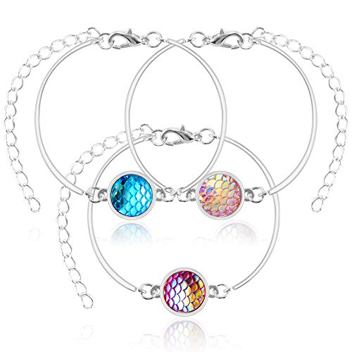 TONGYE Mermaid Charm Bracelet with Fish Scale Adjustable Pendant Love Bangle for Fashion Girls Women Fine Gift Set of 3 (Blue, Pink, Purple)