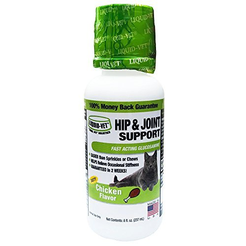 Liquid-Vet Cat Hip & Joint Formula – Fast Acting Glucosamine for Hip & Joint Aid in Felines – Chicken Flavor – 8 Fluid Ounces