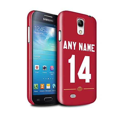 Personalized Custom American Football Jersey Kit Gloss Case for Samsung Galaxy S4 Mini/Red Design/Initial/Name/Text DIY Snap-On Cover