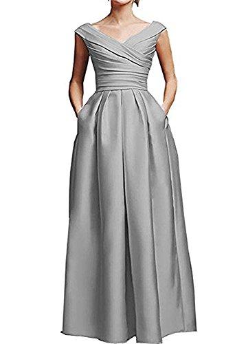 de novia de de madre satén en largo volantes Plata la V del cuello con de vestido con FOLOBE formal noche vestido nS7qYgwS