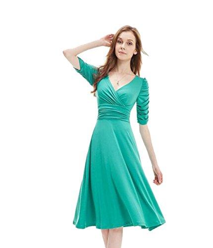 Bonbonfarbenen Taille Großes Schaukel Kleid,Grün,L