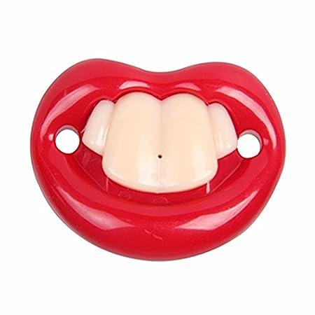 Divertidos chupetes de ducha de bebé de Silicón lindo de silicona pezón muñecos de mordedor falsos con grandes labios rojos y dientes tontos regalo de ...