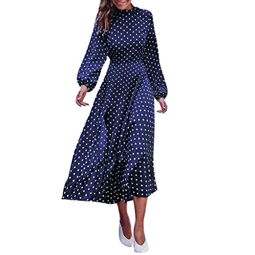 Women Sexy Fashion Polka Dot Printed Round Neck Long Sleeve Dress Sale Today Blue