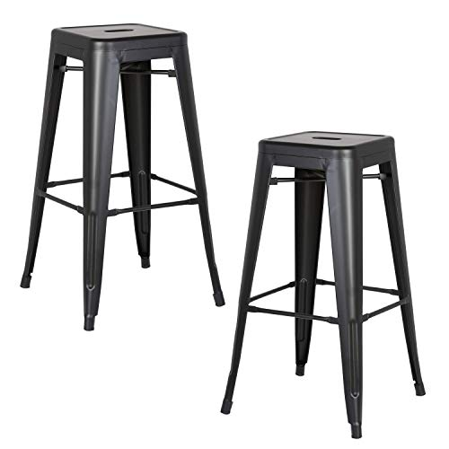 AC Pacific Modern Backless Light Weight Industrial Metal Barstool 4 Leg Design, 30 Seat Bar Stools Set of 2 , Matte Black Finish