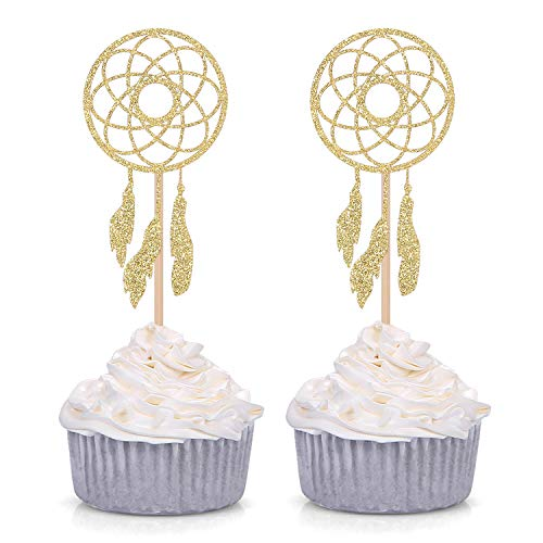Giuffi Set of 24 Gold Dream Catcher Cupcake Toppers Kids' Party Picks