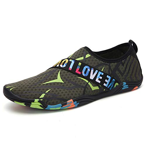 Swimming Shoes Diving Snorkeling Shoes Treadmill Shoes Drifting Wading Quick-Drying Soft Beach Non-Slip Water Sports Shoes Unisex Army Green