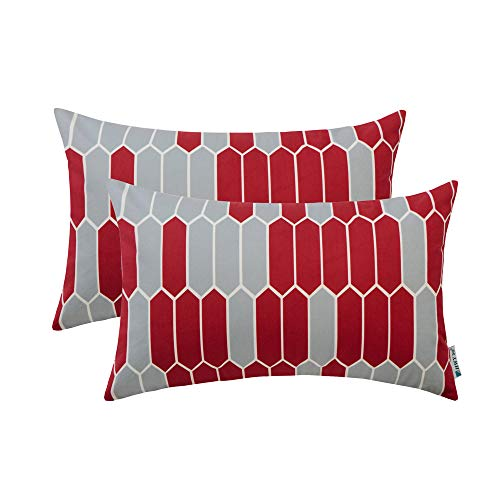 ow Pillows Covers Sets Cushion Cases for Couch Sofa Bedroom Soft Decorative Simple Geometric Wine Red Print 12 x 20 inch Pack of 2 Pillowcases ()