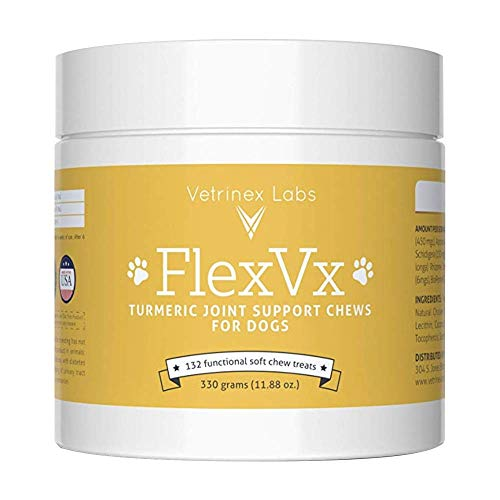 Vetrinex Labs FlexVX Turmeric Curcumin for Dogs - Anti-inflammatory Joint Supplement for Pain Relief from Arthritis & Hip Dysplasia with Glucosamine, Chondroitin & MSM for Dogs, (132 ct)