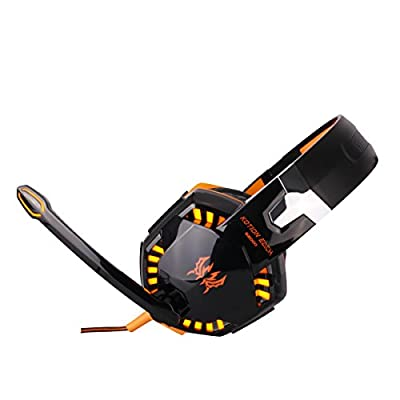Kotion Each G2000 Over-ear Game Gaming Headphone Headset Earphone Headband with Mic Stereo Bass LED Light for Pc Game (Black & Orange)