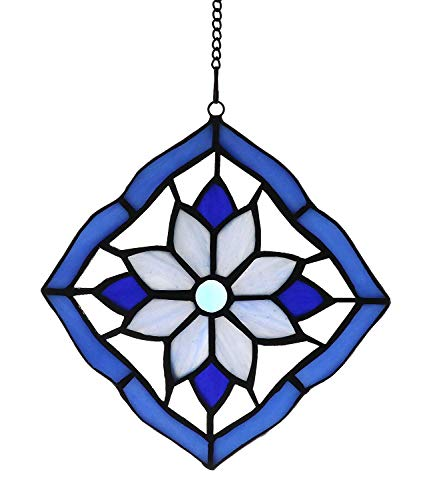 Alivagar Stained Glass Windows Hanging Suncatchers Flower Blue, 6