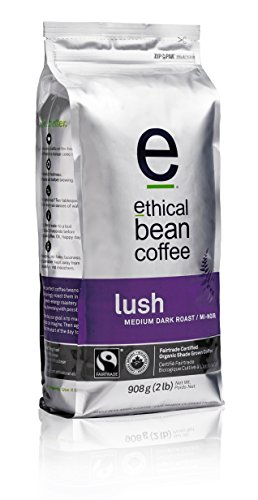 Lush Ethical Bean Coffee: Medium Dark Roast Whole Bean Coffee - USDA Certified Organic Coffee, Fair Trade Certified - 2 lb Bag (908 g)
