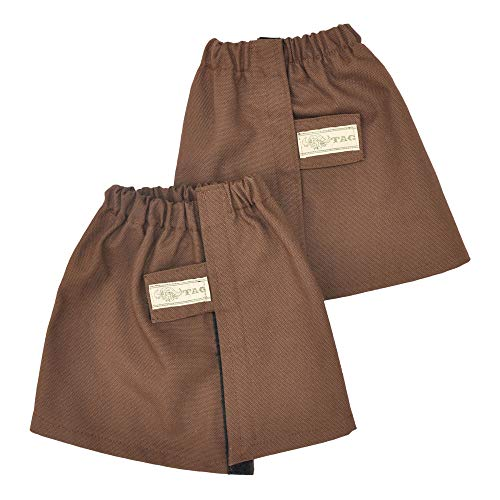 Tag Safari Canvas Gaiters with Velcro Fasteners for Hiking, Walking, Hunting and Mountain Climbing, Made in Africa (Brown, Large)