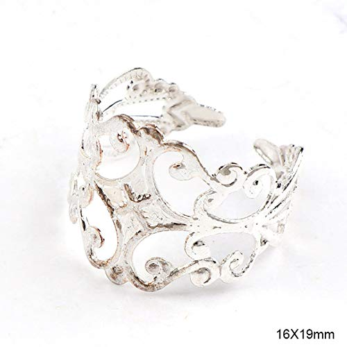 Kamas Adjustable 16x19mm Flower Lace Ring Bezel Embellishments Bases Setting Blanks DIY Ring Jewelry Supplies Finding - (Color: ()