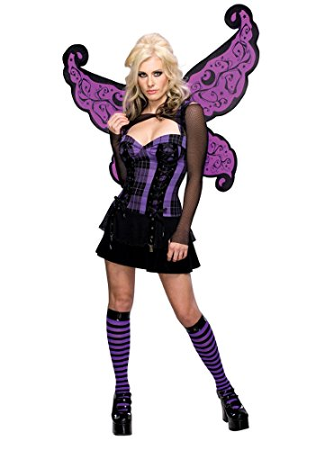 Secret Wishes Women's Enchanted Creature Adult Punk Fairy Costume, Purple/Black, Medium (Enchanted Wishes Costume)