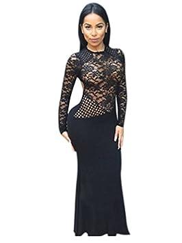 Nueva parte superior de encaje negro Maxi vestido largo vestido de noche vestido de cóctel vestido