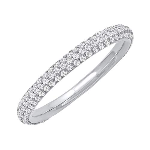 14k White Gold Three-Row Diamond Pave Band Ring (1/2 cttw, H-I Color, I2 Clarity), Size 7 ()