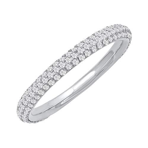 14k White Gold Three-Row Diamond Pave Band Ring (1/2 cttw, H-I Color, I2 Clarity), Size 7 Diamond Three Row Ring