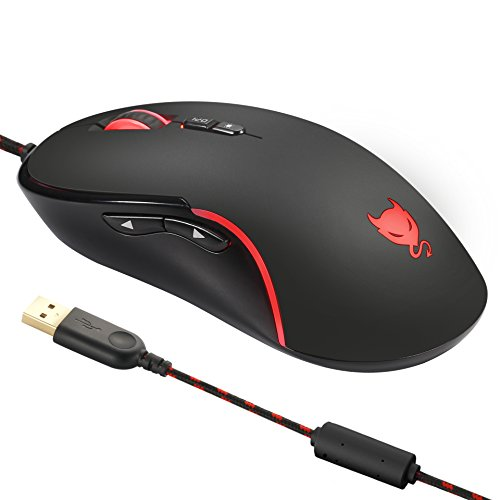 Redimp Wired Gaming Mouse Optical 4000 DPI with 7 Programmable Buttons, USB Computer Mice Mouse for PC Laptop iMac Tablet - - Thinkpad Notebooks Linux