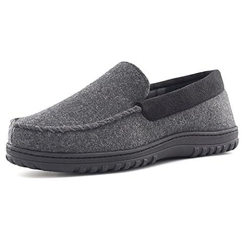 HomeTop Men's Indoor Outdoor Wool Micro Suede Moccasin Slippers Flats (US Men's 11-12, Dark - Classic Moc Slip