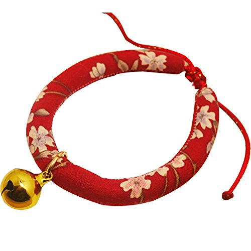 Creation Flower (Creation Core Japanese Style Flower Print Cat Collar with Golden Bell(Red,M))