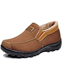 Mens Snow Boots Moccasins Slippers Plush Loafers Warm Lined Driving Indoor Outdoor Winter Non-Slip