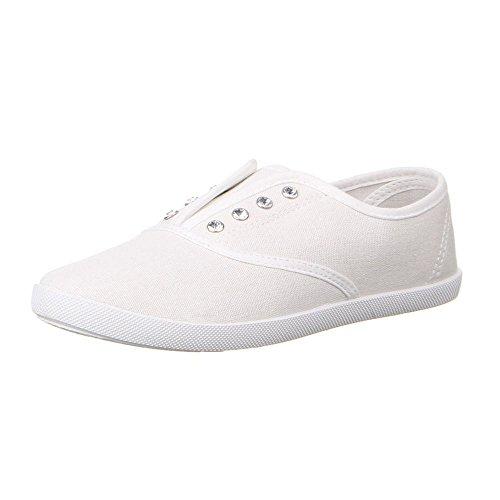 Ital-Design - Mocasines de tela para mujer Blanco - blanco