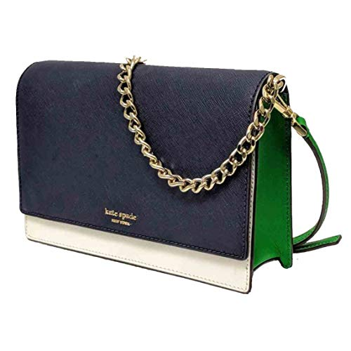 Convertible Cross Body Bag - Kate Spade Cameron Saffiano Leather Convertible Crossbody Bag Purse Handbag, Navy White Green