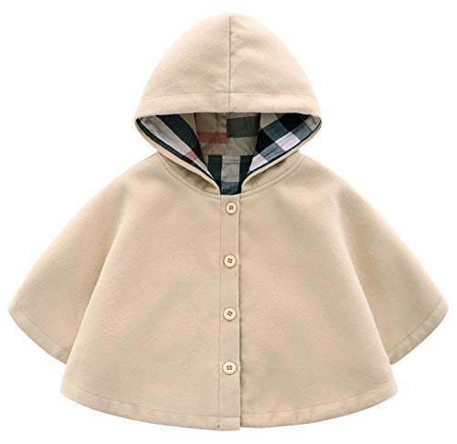 MaxKids Baby and Toddler Boys & Girls Wool Blend Winter Hooded Outerwear Capes Poncho Coat Apricot ()