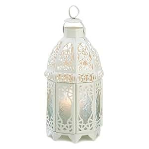 Gifts & Decor Lattice Hanging Candle Holder Lantern Centerpiece, White