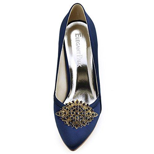 Elegantpark CG Blatte Antik Design mit Strass Geschenk Flache Pumps Damen Schuhe Schuhclips 2 Stück Marineblau