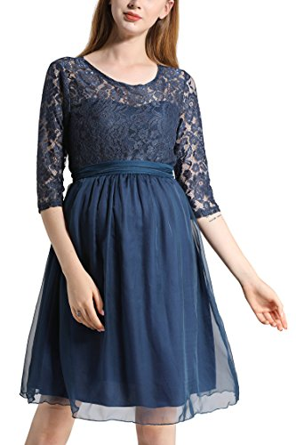 Molliya Maternity Dress Floral Lace Baby Shower Party Cocktail Dress with Ribbon(Navy,XL)