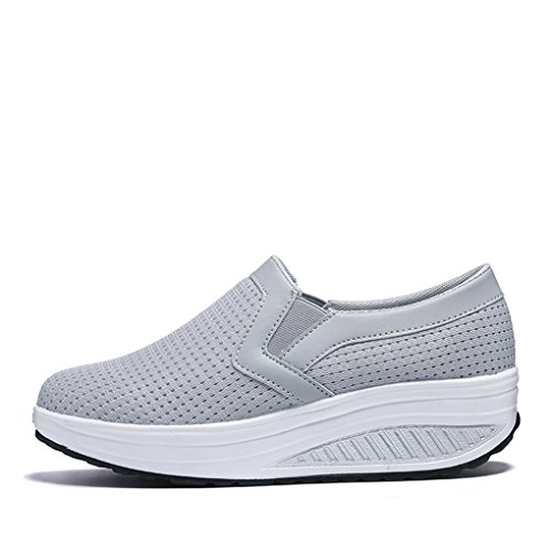 Color Casual Rui Pure Silver Mesh Gray Heel YY Heel Women's Daily Shoes Loafer Low Breathable dtpz4Ux