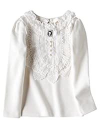 VYU Little Girls Long Sleeve Winter Blouse 2-8 Year Kids Cotton Lace Tops