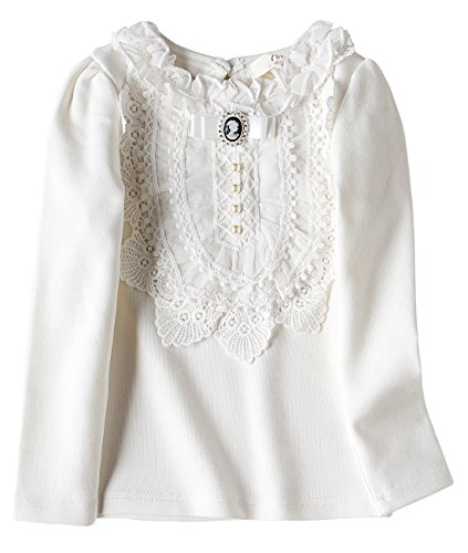 VYU Little Girls Long Sleeve Flower Blouse 2-8 Year Kids Autumn Cotton Lace (Little Girls Blouse)