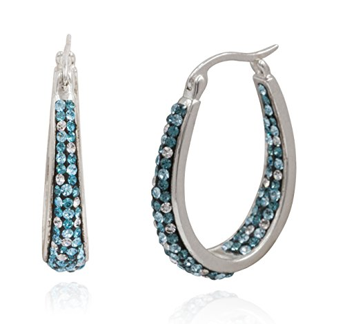 Carly Creations Womens Silver Plated Genuine Crystal Hoop Earring - Aqua